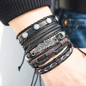 Alloy, Leather Bracelet Set  (Pack of 5)