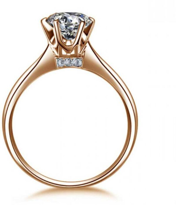 Super Solitaire Zircon Gold Plated Ring for Women & Girls Sterling Silver Swarovski Crystal Gold Plated Ring