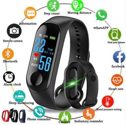 i-BEL M3 Smart Band With Heart Rate Sensor Features Fitness Band (Black, Pack of 1)